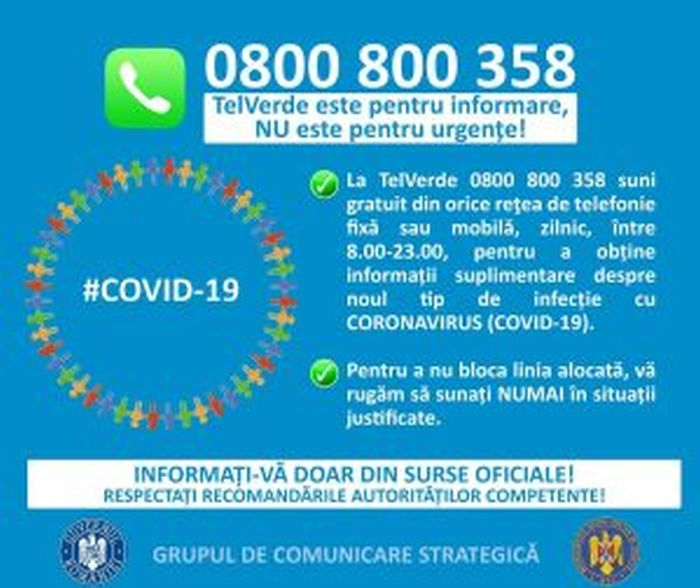 Afis informativ tel verde coronavirus